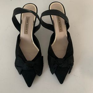 Zara black suede heels shoes size 39.
